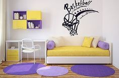 Wall Sticker Vinyl Decal Basketball Basket Ball Sport Competition Victory (n096)