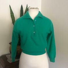 Vintage Angora 1950 s Green Cropped Pullover Sweater 051f0a2be