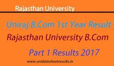 Rajasthan University Bcom 1st Year Result