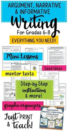 Argument writing, narrative writing, and informative writing, the three Common… Writing Mentor Texts, Mentor Sentences, Argumentative Writing, Informational Writing, Narrative Writing, Writing Workshop, Teaching Writing, Writing Activities, Teaching Resources