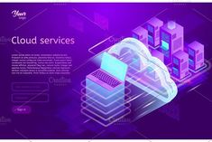Isometric cloud computing services concept. Vector illustration showing the laptop and web servers. Cloud data storage..