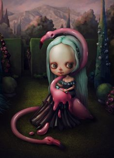 'Ice Cream Hunt' - digital painting + watercolor one, by Marija Tiurina Arte Lowbrow, Hunting Art, Beautiful Dark Art, Illusion Art, Creepy Art, Cool Art Drawings, Baby Art, Whimsical Art, Surreal Art