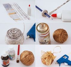 diy paper wrapped christmas ornament