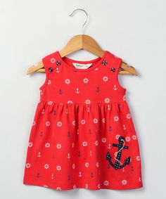 Look what I found on #zulily! Red Anchor Embroidered Jersey Dress - Infant & Toddler #zulilyfinds