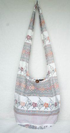 YAAMSTORE thai flora art graphic white hobo bag sling by yaamstore, $11.99