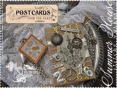 """Postcards From The Heart New Year is the title of this cross stitch pattern from Summer House Stitche Workes series titled """"Postcards From The Heart""""."""