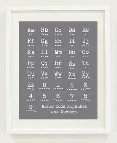 Morse Code Alphabet and Number Print in Titanium or Choose Your Own Color. $18.00, via Etsy.