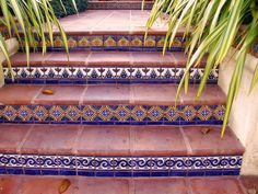 BarroNica's bullnose stair tread tile combined with Talavera tile from Mexico