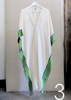 I could live in this in the summer heat. Green border caftan with thin stripe | TwoNewYork.com | http://twonewyork.com/products.asp?c=kids