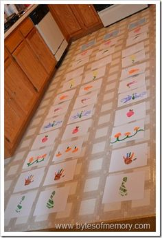 Make a calendar of hand and foot prints of the great-grands made in to pictures by the kids -as gift - SO CUTE!