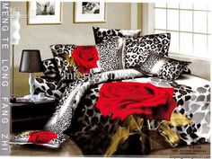 Red rose flower leopard print bedding sets egyptian cotton full/queen king duvet cover flat sheet comforter set 4/5pc textile - US $99 Purch...