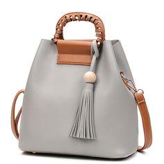 $26.75 Stylish PU Leather Handbag Bucket Bag Shoulder Bags Crossbody Bags For Women