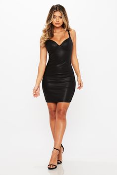 Vegan leather fitted dress with bustier top. V neck Adjustable straps Bustier top Fitted Leather, Cotton Model wears size S about our model sofia's measurements are: height bust waist hips Tight Dresses, Satin Dresses, Sexy Dresses, Fashion Dresses, Priyanka Chopra Hot, Battle Dress, Hot Dress, Dress Collection, Silhouette