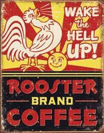 Rooster Coffee 1940's Advertising Tin~kaffe...coffee...necter of the Gods....