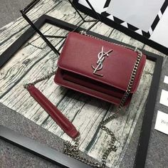 2016 Cheap YSL Small Sunset Monogram Satchel in Bordeaux Grained Leather