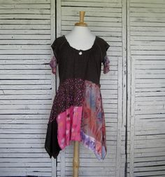 Brown & Pink Tunic L/XL Upcycled Clothing Upcycled by AnikaDesigns, $68.00