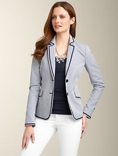 Love this Talbots Grace Fit Piped Seersucker Jacket. Timeless classic :-)