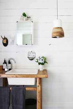 rustic bathroom with custom wood vanity and white sink. Scandinavian Interior, Home Interior, Bathroom Interior, Interior Design, Interior Stylist, Bathroom Inspiration, Interior Inspiration, Style Inspiration, Diy Home Decor For Apartments