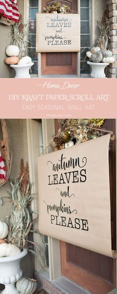 Easy DIY farmhouse style wall art project with kraft paper and scroll art. It is versatile and easy enough to change up season to season. Thanksgiving and fall decor ideas for the wall! Diy Wall Art, Diy Wall Decor, Funky Home Decor, Diy Home Decor, Wal Art, Do It Yourself Home, Diy Signs, Fall Diy, Diy Craft Projects