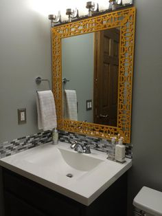 """O'verlays 4"""" Caci strip frames this plate glass mirror adding a beautiful finished look.  Great job done by Liz and Lindsay!"""