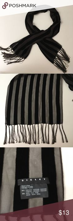 """Sisley Velvet And Silk Scarf Made in Italy. 14"""" x 55"""". Used in excellent condition. Sisley Accessories Scarves & Wraps"""