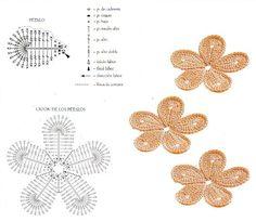 flores tejidas a crochet paso a paso - Buscar con Google