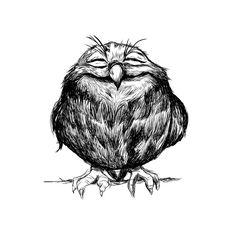 cute owl illustration design in black and white. Owl Art, Bird Art, Animal Drawings, Art Drawings, Tattoo Painting, Illustrator, Owl Illustration, Tinta China, Cute Owl