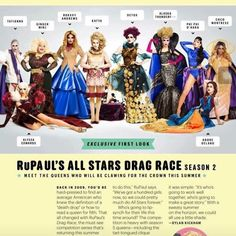 According to this it's the official cast of all stars 2. Not sure if it's full cast or half of the official cast phi phi o'hara Roxxxy Andrews Alyssa Edwards Alaskathunderfuck Coco Montrese Detox Kayta Ginger minj Tatianna Adore Delano