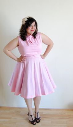 Plus Size Vintage 1960's Dress Pink Circle by DollFaceProductions, $40.00