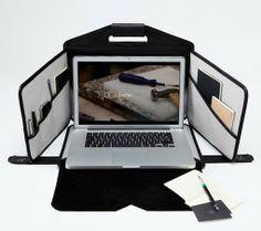 maletín de cuero para llevar el ordenador