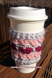 This Coffee Cozy is Valentines Day themed. It uses fun crossed double crochets to make x's and some fun combination of other simple stitches to make hearts. You'll be sure to fall in love with this one. It's a great stash buster too as you only need small amounts of yarn. Have fun with Valentines Day Colors like pinks and reds, or go with a pastel theme like conversation hearts! Enjoy!