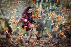 Autumn wonderland, lady with lady wallets