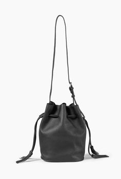 "Embrace the bucket bag trend with this pebbled vegan leather bag with a drawstring closure.       Dimensions: 9.5"" (w) x 11.5"" (h) x 7"" (d)       - Vegan Leather   - Imported"