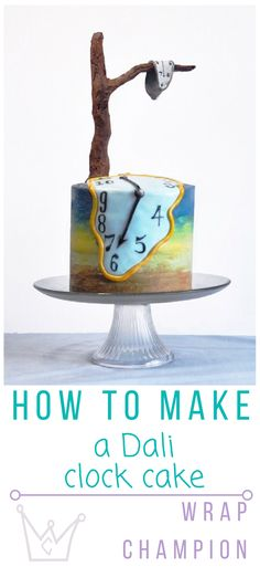 Step by step guide to make this cracking Dali cake. With a fondant clock, chocolate tree and ombre frosting.