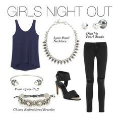 Stella & Dot | Girls Night Out - Lynx Pearl Necklace, Deja Vu Pearl Studs, Pearl Spike Cuff, Chiara Bracelet | Fall Collection 2015 Not your Grandma's pearls!