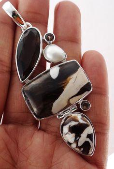 Peanut Wood  Jasper 925 Solid Sterling silver Pendant Jewelry (PNW-7) #Rananjay #HandmadePendant