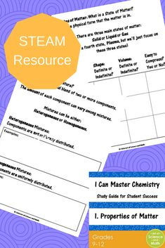 Help your students to understand and master the Properties of Matter in your High School Chemistry class. This powerful interactive study guide provides your students with a solid framework to help them organize and learn concepts.