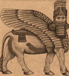 Lamassu Mythological Creature Sumerian Assyrian Babylonian for him Art Drawing Mesopotamian Luck Protective Deity Brown Beige Black Print