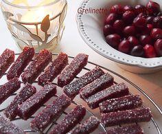 pâtes de fruits: pommes cranberries