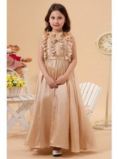Taffeta Jewel Ankle-Length Column Flower Girl Dress with Ruffle