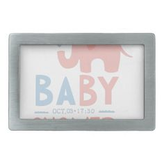 baby shower invitation design template with toy el belt buckle