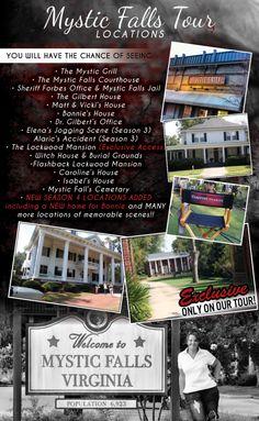 The Vampire Diaries Mystic Falls Tour!! Atlanta, GA http://www.mysticfallstours.com/#!specials/c15ym