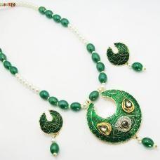 Meenakari solid color moon shaped pendant set.