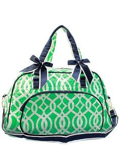 16ae8ffbe2 Ivy Trellis Quilted Duffle Tote Bag - Navy   Mint - This quilted duffle bag  doubles as a stylish tot