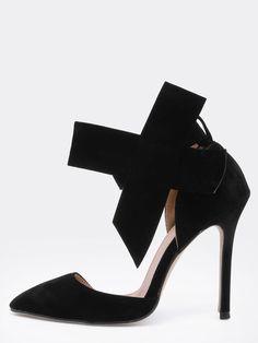 Zapatos con tacón alto lazo-negro