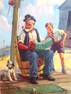 ORIGINAL Hy Hintermeister CALENDAR sample DOW Litho GRANDPA accordion DOG boy