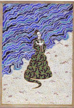 Nága -nő a vízparton, gyerekével.2004. Az indiai nágák, faszellemek, a vizek, a mágia, a gyógyítás és a kincsek őrzői, időnként félig emberek.