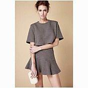 Moda Oscuro Jacquard Separa Blusa y falda –