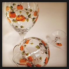 Pumpkin Wine Glasses hand painted set of 2 by angelwoodgifts