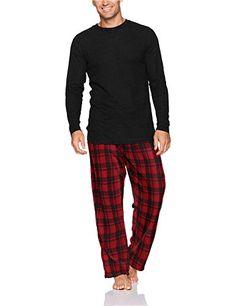 Hanes Men's Micro Fleece Pant Set with Waffle Top, Black,...